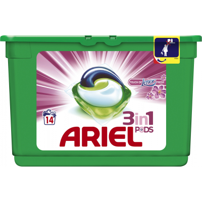 Ariel Touch of Lenor Fresh 3v1 kapsle na praní, 14 praní