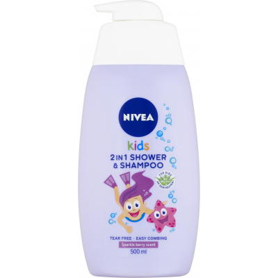 Nivea Kids Girl 2v1 sprchový gel a šampon, 500 ml